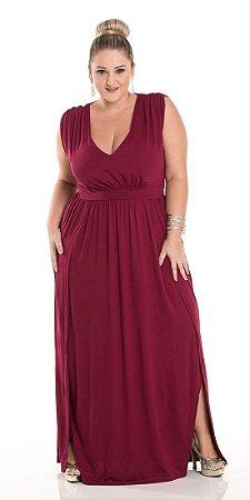 Vestido Longo Viscolycra com Abertura Lateral Autenticada Plus Size