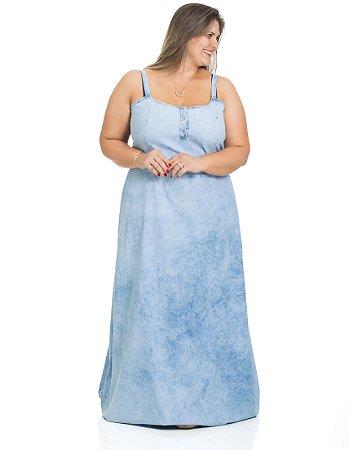 Vestido Denim Glamour Jeans Longo Charlott Plus Size