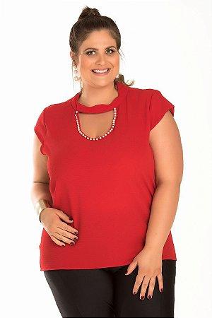 Blusa em tecido crepe com detalhe em pérolas Anade Vermelha PLus Size