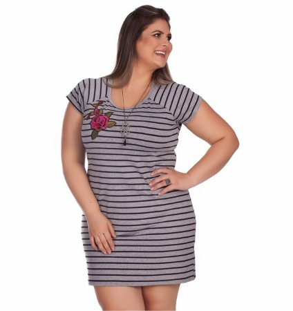 Vestido Listrado Anade Plus Size