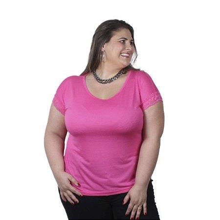 Blusa com Detalhe em Renda 100% Viscose Ody Malhas Cor de Rosa Plus Size