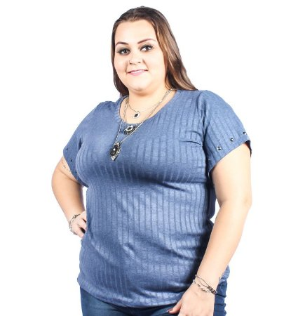 Blusa Malha Canelada e Aplique de Pedras Nolita Azul Plus Size