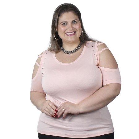 Blusa Viscolycra com Ombro Vazado e Aplique de Pedras Rosa Plus Size Nolita