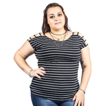 Blusa Viscolycra Listrada com frisos em Cirrê Nolita  Preta Plus Size