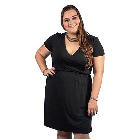Vestido Malha PV com Elástico na cintura Nolita Preto Plus Size
