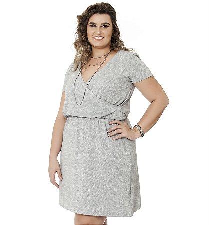 Vestido Malha PV com Elástico na cintura Nolita Mescla Plus Size