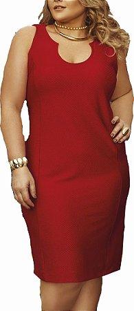 Vestido Jacard Liso Primaior Vermelho Plus Size
