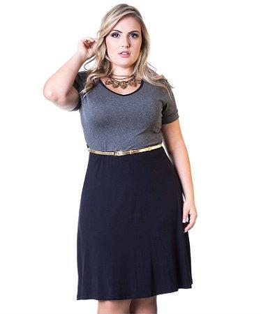 Vestido Viscolycra  Berthage Mescla e Preto Plus Size( ACOMPANHA O CINTO)