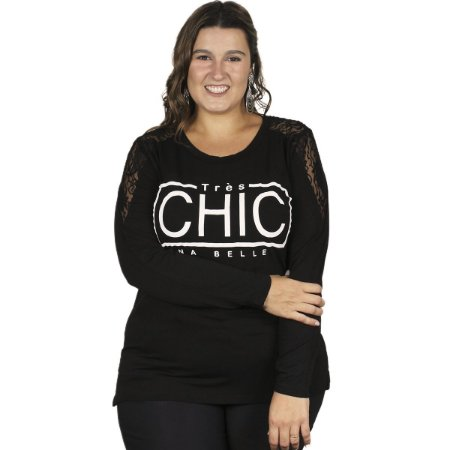 Blusa Viscolycra com Renda e Estampa Gracia Plus Size