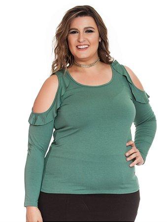 Blusa Viscolycra com Abertura no Ombro Verde Plus Size Nolita