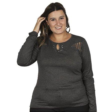Blusa Visco com Tule e aplique de pedras Gracia Plus Size
