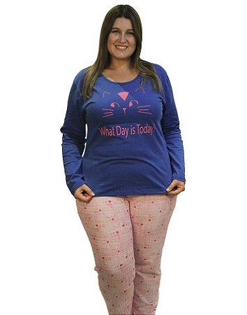 Pijama Bela Notte longo Gatinho Plus Size