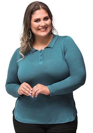 Blusa Visco Lisa com Gola Verde Primaior Plus Size
