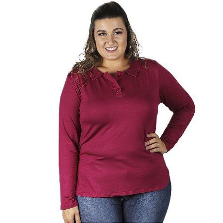 Blusa Visco Lisa com Gola Bordo Primaior Plus Size