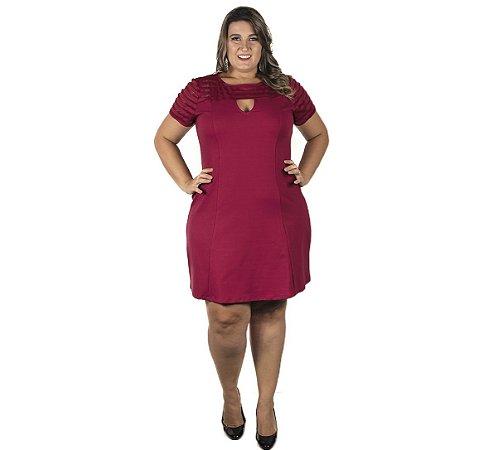 Vestido Bordô com Detalhe Decote Lisamour Plus Size