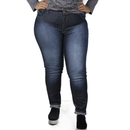 Calça Jeans By Unna Escura Plus Size