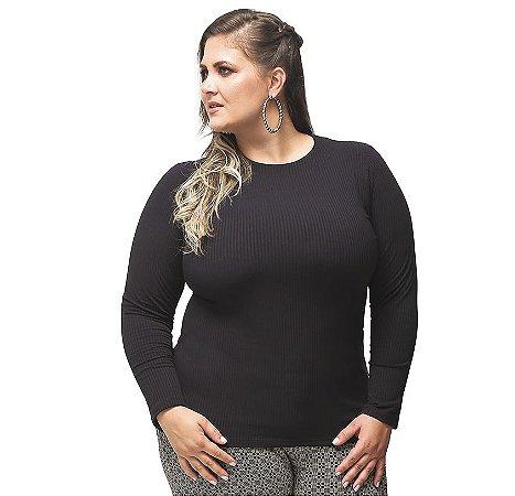 Blusa Básica Canelada Preta Primaior Plus Size