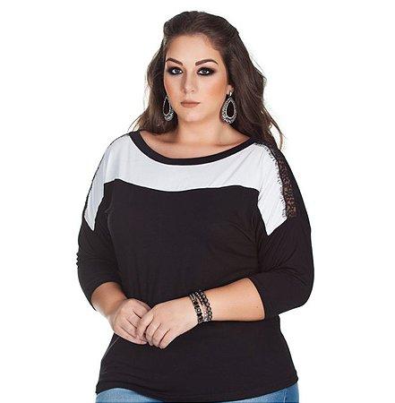 Blusa de Viscolycra com Renda Chantelle Kibeleza Plus Size