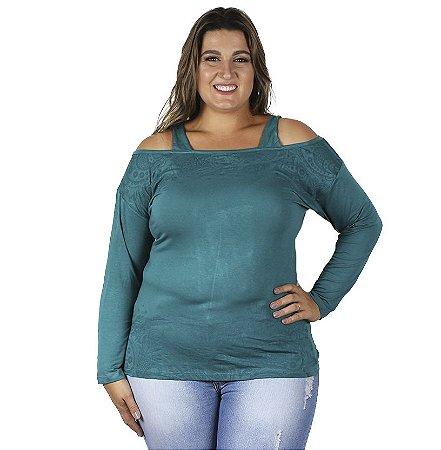 Blusa  Com Detalhes nos Ombros Cores Variadas Vitalitte Plus Size
