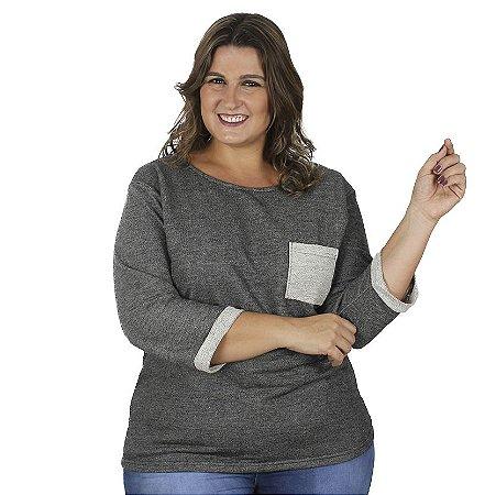 Blusa de Moletinho Soft com Bolso Chumbo  Kibeleza Plus Size