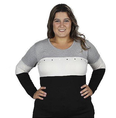 Blusa Viscolycra 3 Cores Mescla Plus Size Nolita