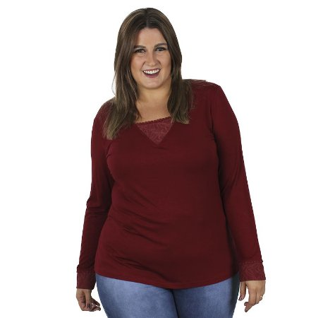 Blusa Viscolycra com Detalhes em Renda no Decote e no Pulso Kibeleza Plus Size