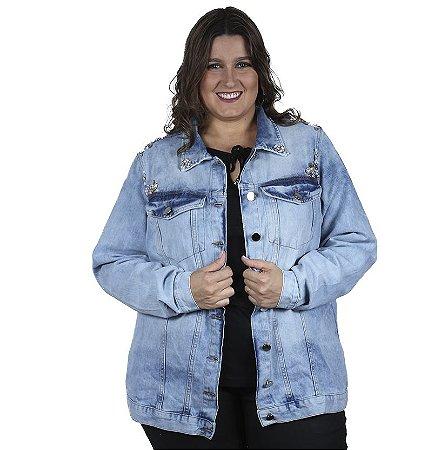 Jaqueta Jeans Oversize com Aplique Legítima Defesa Plus Size