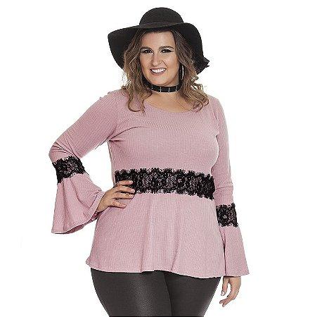 Blusa Bata Canelado Nolita Plus Size