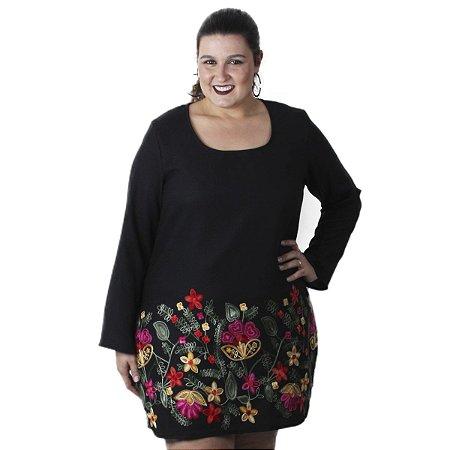 Vestido Linho Bordado  Preto Quince Plus Size