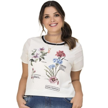 Blusa com Estampa Lisamour Plus Size