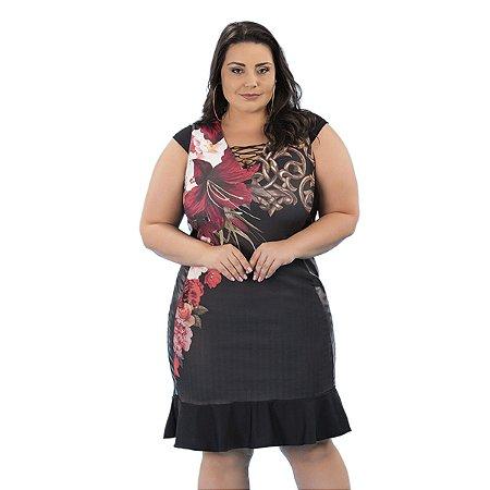 Vestido com Detalhe em Tela Rosa Urbana Plus Size
