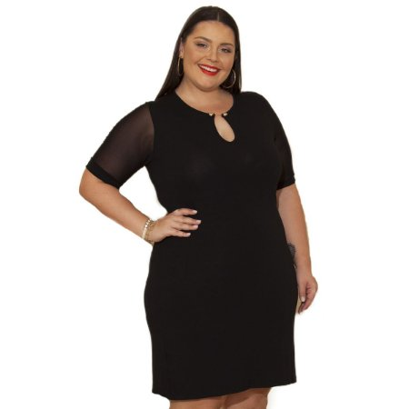 Vestido Viscolycra com Tule Berthage Plus Size
