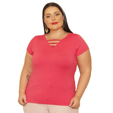 Blusa Viscolycra com Frisos e detalhe de argola Berthage Plus Size