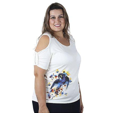 Blusa com Abertura no ombro Off Nolita Plus Size