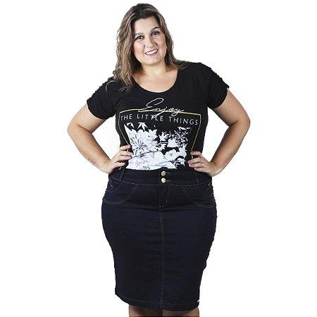 Saia Jeans Escuro THB Plus size