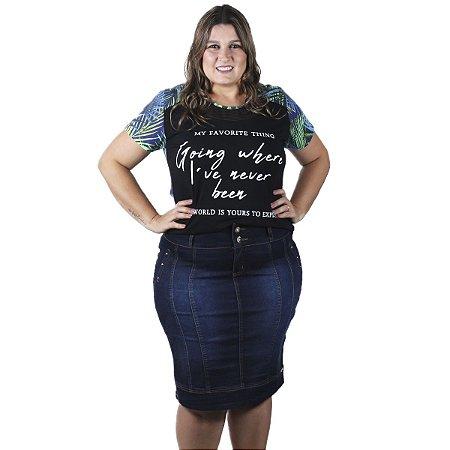 Saia Jeans Escuro com recorte THB Plus size