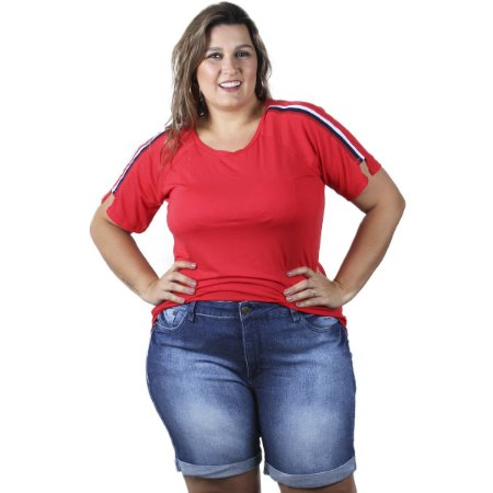 Bermuda Jeans Escuro Boyfriend By Unna Plus Size