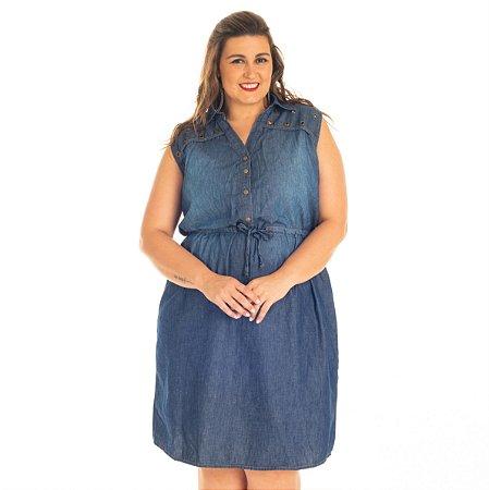 Vestido Jeans sem manga e detalhe em ilhós Stuhler Plus Size