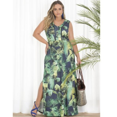 Vestido Longo Estampado Lisamour Plus Size Ltda