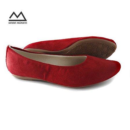 7c4ef345cd Sapatilha Feminina Confortável Social Vermelha - Modo Básico - Modo ...