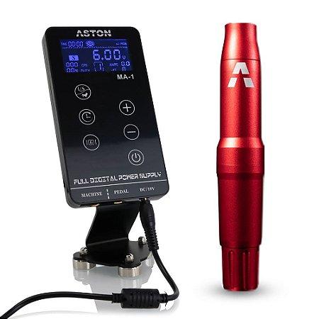 Kit Aston Pen Adapt Vermelho + Fonte Digital MA-1 Para Tatuagem