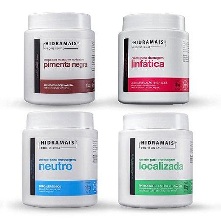 Kit Com 4 Hidramais Pimenta Negra + Drenagem Linfática + Localizada + Neutro 1Kg