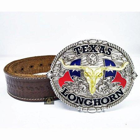 Cinto de Couro Com Fivela Country Longhorn America SC1504