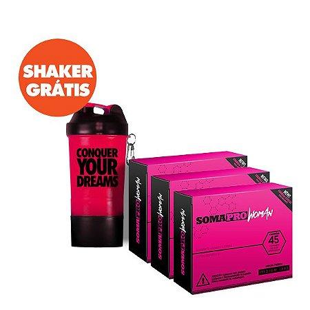 Kit 3 Caixas de Soma Pro Woman + Shaker Grátis