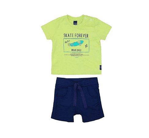 Conjunto T-Shirt Verde + Bermuda Marinho - Um Mais Um