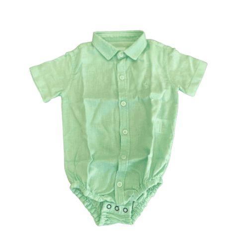 Body Camisa Linho Manga Curta Verde - Dudes
