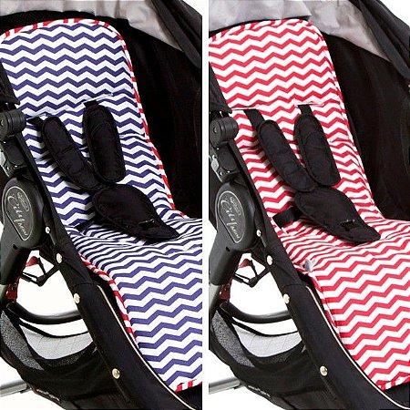 Protetor de Carrinho de Bebê Dupla Face Vermelho Azul Navy Chevron - Momis Petit