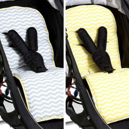 Protetor de Carrinho de Bebe Dupla Face Chevron Cinza Amarelo