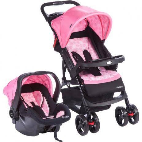 Carrinho de Bebê Travel System Moove Rosa Trama - Cosco