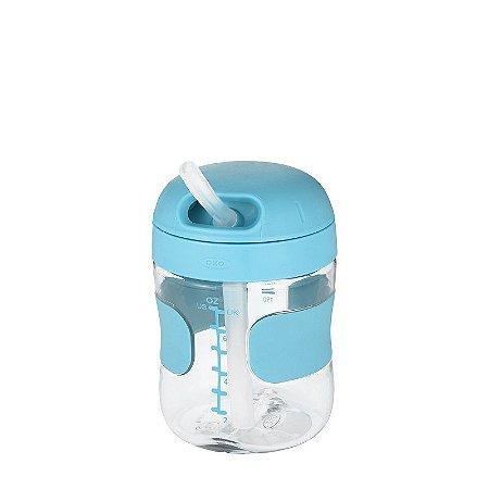 Copo com Canudo de Silicone Oxotot 210ml Azul